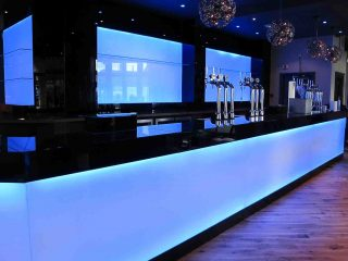 Illuminated Blue LED Glass Splashback
