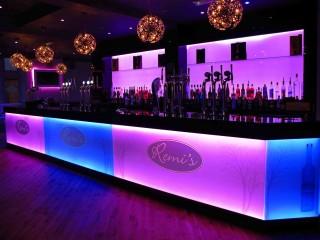 Illuminated glass bar pink & blue