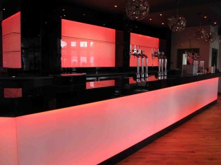 Illuminated red splashback - Glass bar splashback, glass wall panel