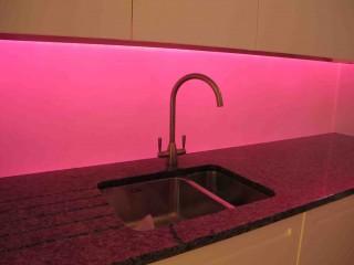 illuminated pink glass splashbacks