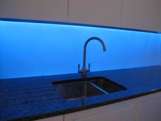 Blue led splashback