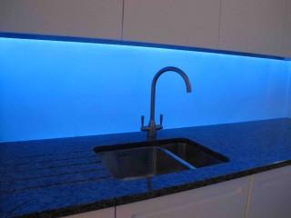 Blue led splashback