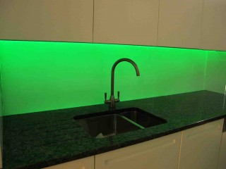 Green led glass splashback