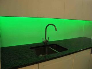 Green led glass splashback