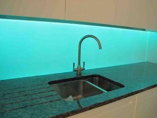 light blue illuminated splashbacks