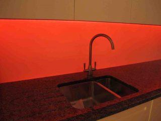 LED splashback Orange made to measure glass splashbacks