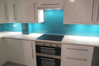 Lagoon blue coloured glass splashback