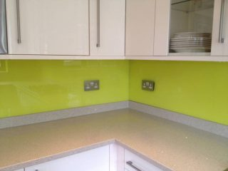 Lime green splashback for kitchens