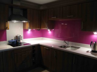 Lipstick Pink Glass splashbacks for kitchens