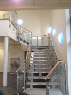 Glass balustrade stairs wood banister
