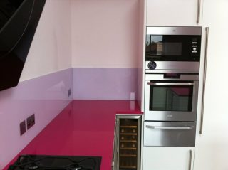 Purple glass splashback - Made to measure glass worktop Pink.