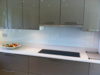 light blue glass splashback