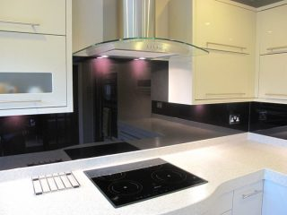 black glass splashback made to measure