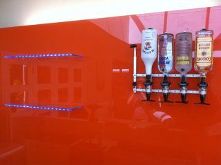 Orange glass bar splashback