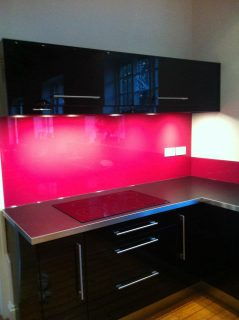 Pink glass splashback