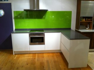 green glass splashback for kitchen