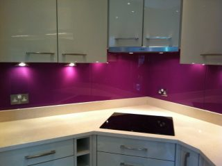 purple glass splashback for kitchen