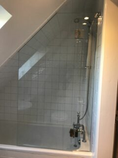 Sloping roof Attic Shower Glass