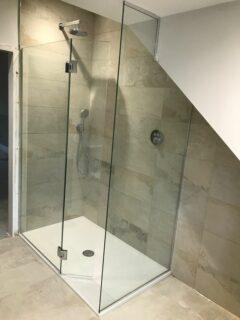 sloped ceiling shower enclosure glass screen