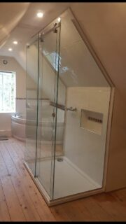 Under sloping roof made to measure shower enclosures