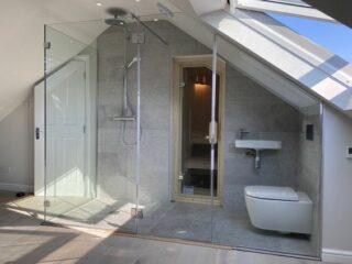 Bespoke large sloping roof shower enclosure