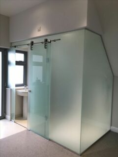frosted glass loft shower enclosure