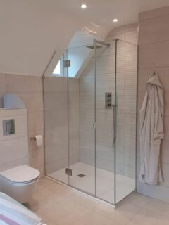 thin sloping ceiling shower enclosure